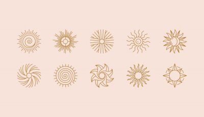 Obraz Vector set of linear boho icons and symbols - sun logo design templates  - abstract design elements for decoration in modern minimalist style for social media posts