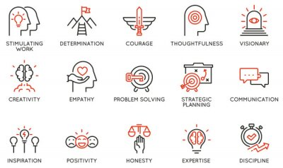 Obraz Vector Set of Linear Icons Related to Leadership Traits, Qualities for Success. Development and Teamwork. Mono Line Pictograms and Infographics Design Elements - part 2