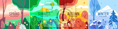 Obraz Vector set of seasons illustrations. Spring, summer, autumn, winter - landscapes in a flat style.