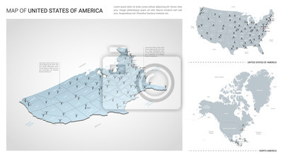 Obraz Vector set of United States of America  country.  Isometric 3d map, United States of America  map, North America map - with region, state names and city names.