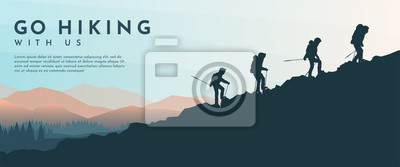 Obraz Vector template with tourists. Travel concept of discovering, exploring and observing nature. Hiking. Travelers climb with backpack and travel walking sticks. Website background. Flat landscape