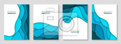 Obraz Vector vertical flyers with blue paper cut waves shapes. 3D abstract paper style, design layout for business presentations, flyers, posters, prints, decoration, cards, brochure cover, banners.