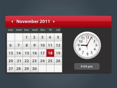 Vector Web i Kalendarz interfejsu użytkownika z ikoną zegara