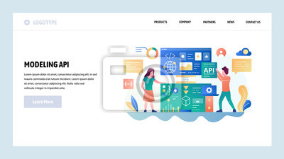 Vector web site design template. API technology and software development. Landing page concepts for website and mobile development. Modern flat illustration
