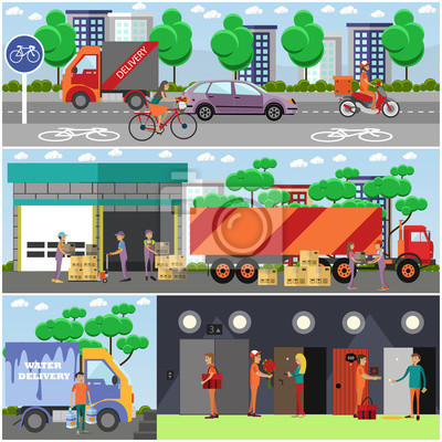 Vector zestaw plakatów dostaw żywności, transparenty w płaskim stylu