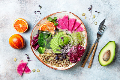 Obraz Vegan, detox Buddha bowl with quinoa, micro greens, avocado, blood orange, broccoli, watermelon radish, alfalfa seed sprouts. Top view, flat lay