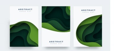 Obraz Vertical banners set with 3D abstract background and paper cut shapes. Vector design layout for business presentations, flyers, posters and invitations. green carving art