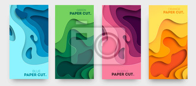 Obraz Vertical banners with 3D abstract background with paper cut shapes. Vector design layout for business presentations, flyers, posters and invitations. Colorful carving art