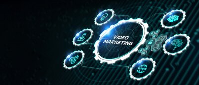 Obraz Video marketing and advertising concept on screen.  Business, Technology, Internet and network concept
