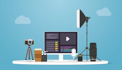 Obraz video production concept with camera and tools product with modern flat style