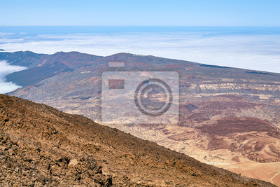 View from Mount Teide summit on Canadas del Teide caldera, considered one of the largest calderas on earth, Teide National Park, Tenerife, Spain.