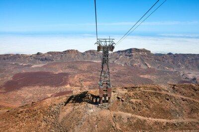 View from Teide Cableway car that goes up Mount Teide, the highest peak in Spain, Teide National Park, Tenerife, Spain.