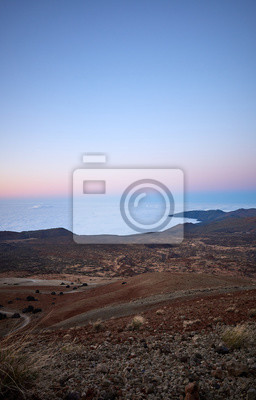 View from Teide Volcano at dusk, Tenerife, Spain.