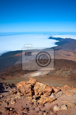 View from the Mount Teide summit, Teide National Park, Tenerife, Spain.