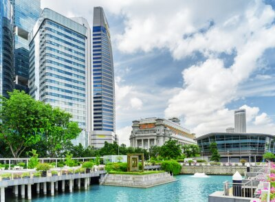 View of skyscrapers and old colonial building in Singapore
