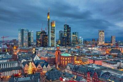 Obraz View on Frankfurt am Main at dusk, Germany