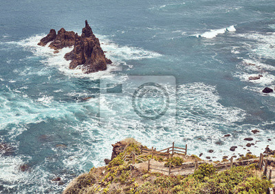 Viewpoint on Famous Benijo Rock located at Benijo Beach seen from above, color toned picture, Tenerife, Spain.