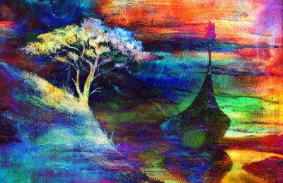 Obraz Viking łodzi i drzewo na plaży, łódź z drewna dragon.painting kolaż tapety krajobraz