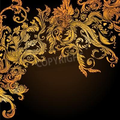 Obraz Vintage brązowy barokowy wzór, ilustracji wektorowych
