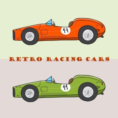 Obraz Vintage cartoon samochód wyścigowy. Wektor doodle ilustracja