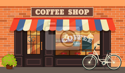 Obraz Vintage coffee shop store facade with storefront large window