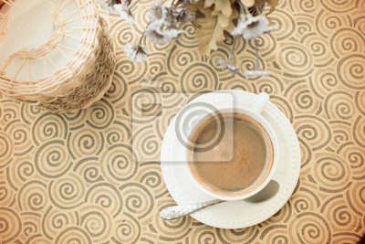 Vintage, filiżanka kawy na stole