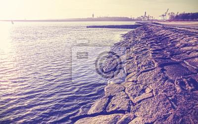 Vintage filtered old port embankment.