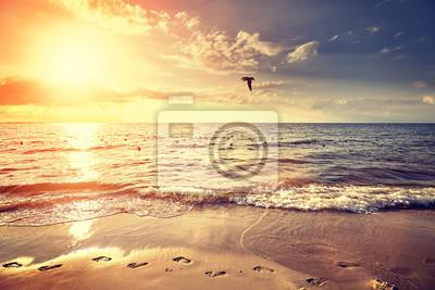 Vintage filtrowane na plaży o zachodzie słońca, krajobraz lato.