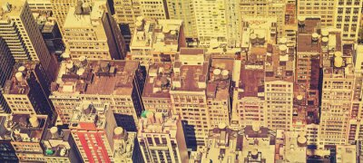 Obraz Vintage filtrowane panoramiczny widok na dachy Manhattanu.