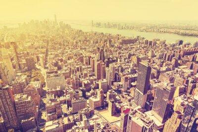 Obraz Vintage filtrowany obraz zachód słońca nad Manhattan, USA.
