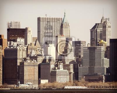 Vintage filtruje obraz Manhattan nad Hudson River, New Yor