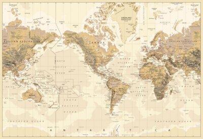 Obraz Vintage Fizyczne Mapa Świata-Ameryka Centered-Kolory Brown