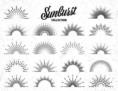 Obraz Vintage grunge sunburst collection. Bursting sun rays. Fireworks. Logotype or lettering design element. Radial sunset beams. Vector illustration.
