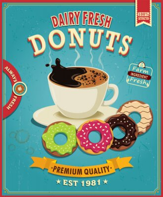 Obraz Vintage kawy pączek z projektem plakatu