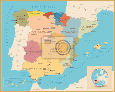 Vintage kolor mapa Hiszpanii