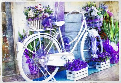 vintage kwiatów rowerów - artystyczny obraz