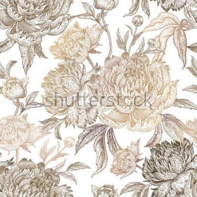 Obraz Vintage kwiaty piwonie, gałęzie, liście. Drukowanie złotej folii na białym tle. Wzór. Ilustracja do tkanin, etui na telefon, papier, opakowania na prezenty, tekstylia, wystrój wnętrz, okładk
