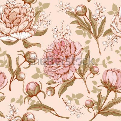 Obraz Vintage luksusowy wzór z kompleksowymi wyciągniętymi kwiatami - kwitnący piwonia. Wektor Łatwe do edycji.