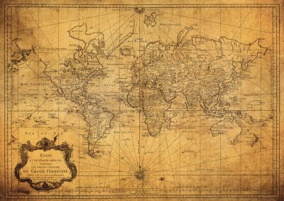 Obraz vintage map of the world 1778