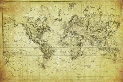 Obraz vintage, mapa świata 1831