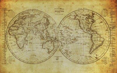 Obraz vintage, mapa świata 1839 ..