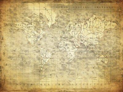 Obraz vintage, mapa świata w 1847 roku ..