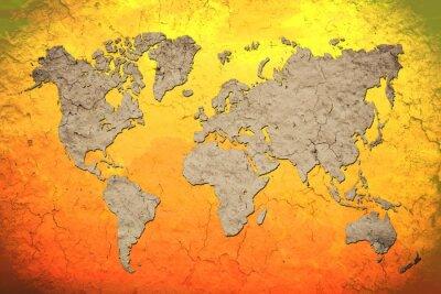 Obraz Vintage mapie świata z czerwonym tle