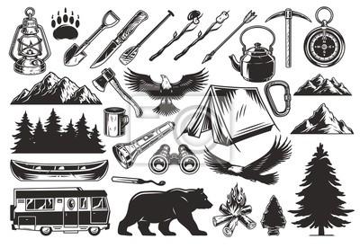 Obraz Vintage monochrome camping elements set
