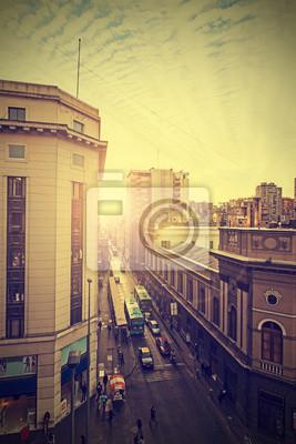 Vintage obraz centrum Santiago de Chile.