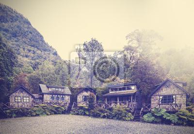 Vintage obraz chatach wiejskich.