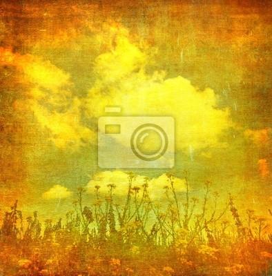 vintage obraz kwiatów na tle grunge