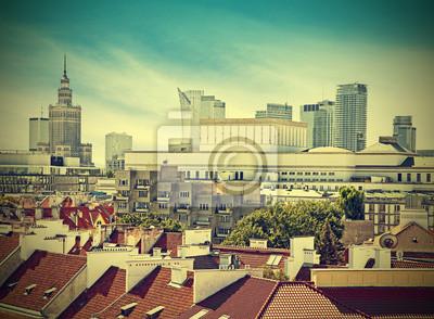 Vintage obraz Warszawie (Warszawa) śródmieście, Polska.