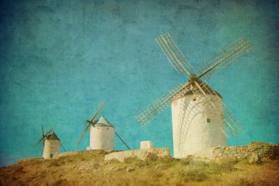 Obraz Vintage obraz wiatraki w Consuegra, Hiszpania.
