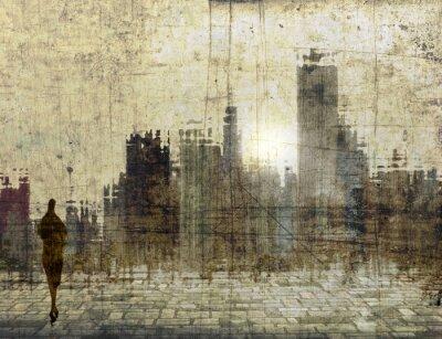 Obraz Vintage panoramę miasta z małej kobiecej